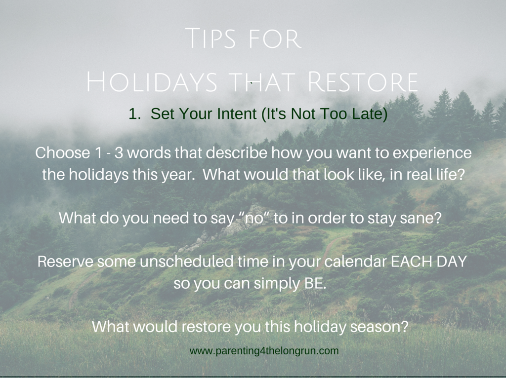 5 Tips Holidays - Intent